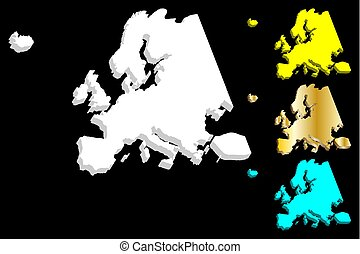 3D map of Europe continent
