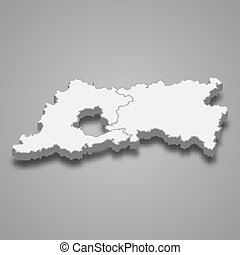 3d map of Flemish Brabant is a province of Belgium, vector illustration
