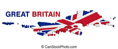 3d map of great britain on a white background