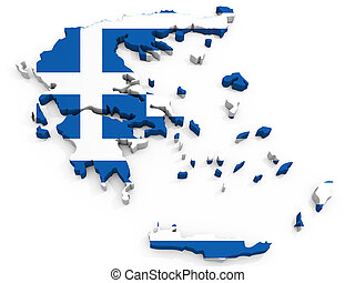 3D Map of Greece with map, Hellenic Republic