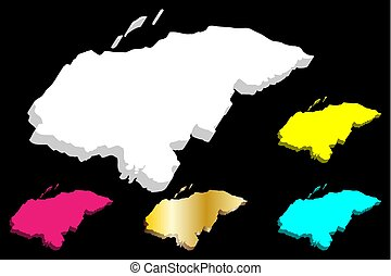 3D map of Honduras (Republic of Honduras, Spanish Honduras)...