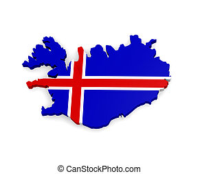 Iceland - 3d map of Iceland