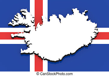 3D map of Iceland on the national flag
