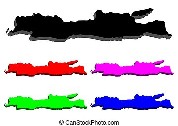 3D map of Java - black, red, purple, blue and green - vector...