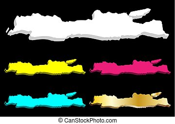 3D map of Java - white, yellow, purple, blue and gold -...