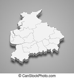3d map of Lancashire is a ceremonial county of England, vector illustration