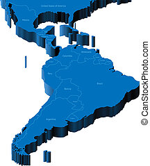 3d map of Latin America - Map of Latin America with national...