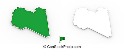 3D map of Libya white silhouette and flag