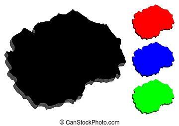 3D map of Macedonia (Republic of Macedonia) - black, red,...