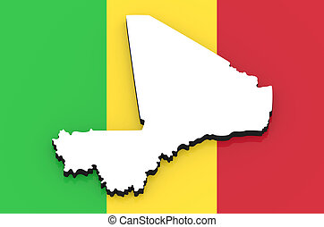 3D map of Mali on the national flag