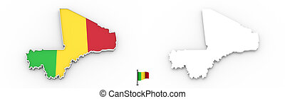 3D map of Mali white silhouette and flag