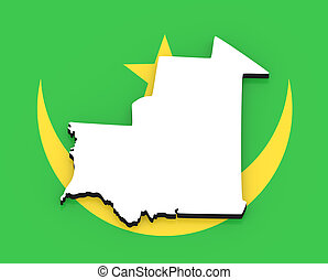 3D map of Mauritania on the national flag