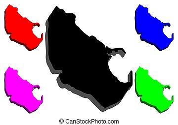 3D map of Melilla (Spanish autonomous city) - black, red,...