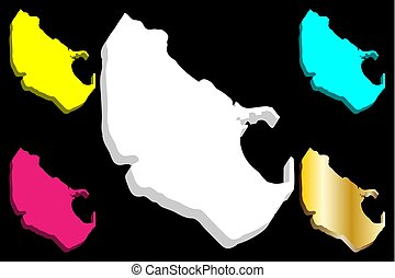 3D map of Melilla (Spanish autonomous city) - white, yellow,...