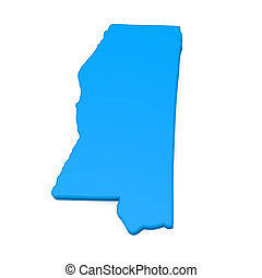 Mississippi - 3d map of Mississippi