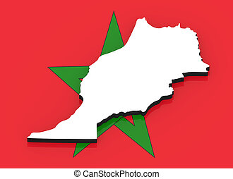 3D map of Morocco on the national flag