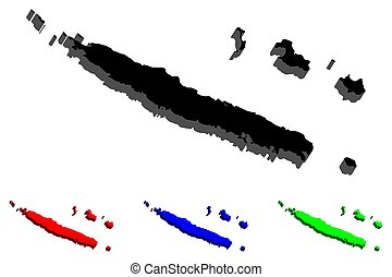 3D map of New Caledonia (special collectivity of France) - black, red, blue and green - vector illustration