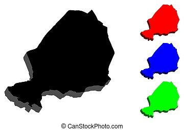 3D map of Niger (Republic of the Niger) - black, red, blue...