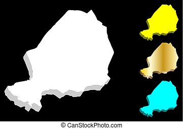3D map of Niger (Republic of the Niger) - white, yellow,...