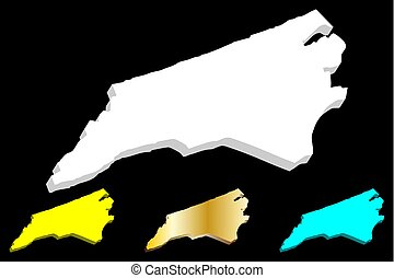 3D map of North Carolina