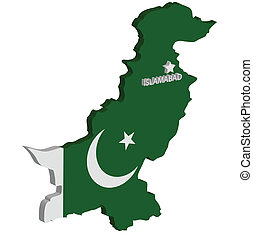 pakistan - 3d map of pakistan with flag and capital marked