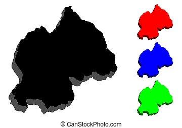 3D map of Rwanda (Republic of Rwanda) - black, red, blue and...