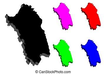 3D map of Sardinia (island of Italy) - black, red, purple,...
