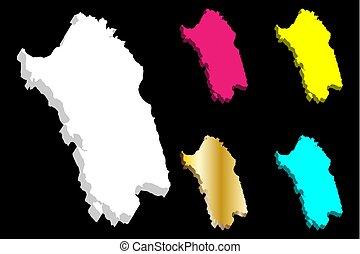 3D map of Sardinia (island of Italy) - white, yellow,...