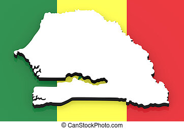 3D map of Senegal on the national flag