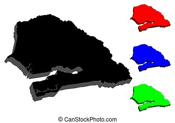 3D map of Senegal (Republic of Senegal) - black, red, blue...