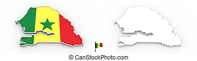 3D map of Senegal white silhouette and flag