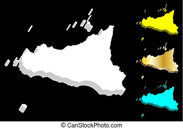 3D map of Sicily (island of Italy) - white, yellow, blue and...