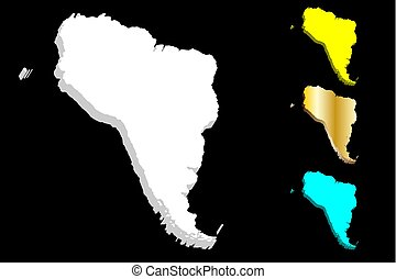 3D map of South America continent