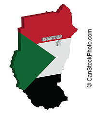 sudan - 3d map of sudan with flag and capital marked