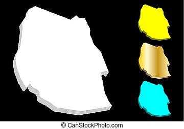 3D map of Swaziland (Kingdom of Eswatini) - white, yellow,...
