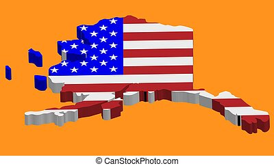 3D Map of the U.S. state of Alaska with American Flag. Vector illustration