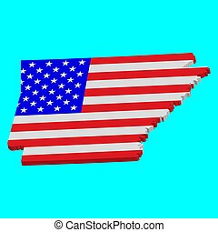 3D Map of the U.S. state of Arkansas with American Flag. Vector illustration