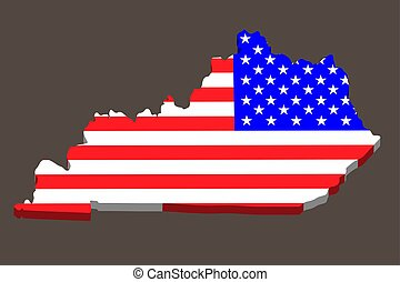 3D Map of the U.S. state of Kentucky with American Flag. Vector illustration