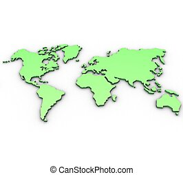 3D map of the world on a white background isolated