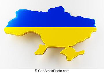 Map of Ukraine land border with flag. Ukraine map on white background. 3d rendering