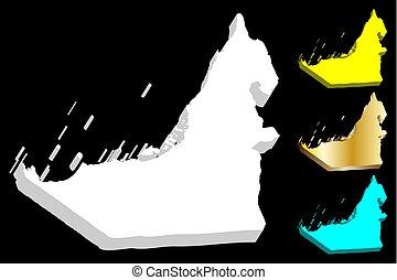 3D map of United Arab Emirates (UAE, Emirates) - white,...
