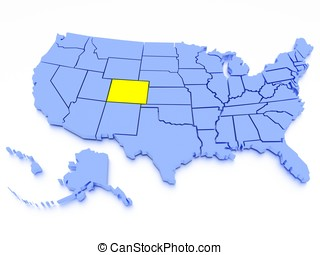 3D map of United States - State Colorado