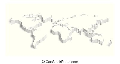 3D map of World with shadow. Vector illustration