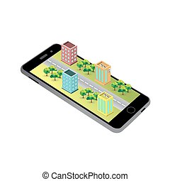 3D map on the screen of the phone.