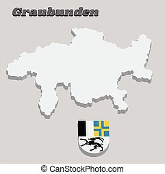 3D Map outline and Coat of arms of graubunden, The canton of Switzerland