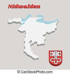 3D Map outline and Coat of arms of Nidwalden, The canton of Switzerland.