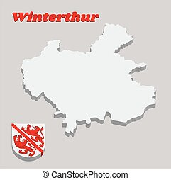 3D Map outline and Coat of arms of Winterthur, The city in the canton of Zurich in Switzerland.