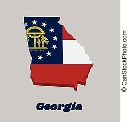 3D Map outline and flag of Georgia, Three stripes consisting of red white red. A blue canton containing a ring of 13 stars encompassing the coat of arms in gold.