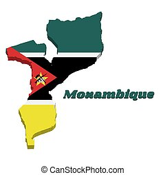 3D Map outline and flag of Mozambique.