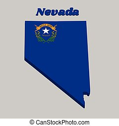 3D Map outline and flag of Nevada, Solid cobalt blue field.